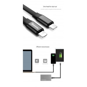BASEUS 2in1 Micro Lightning Portable Short 23CM Sync Data Fast Charging USB Cable