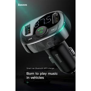 Baseus FM Transmitter Modulator AUX Handsfree Bluetooth MP3 Car Charger 3.4a Dual USB S-09A
