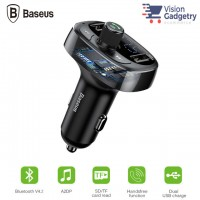 Baseus FM Transmitter Modulator AUX Handsfree Bluetooth MP3 Car Charger 3.4a Dual USB S-09A