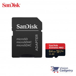 SanDisk Extreme PRO Micro SD Memory Card 64GB 170MB/s A2 Class 10 with Adapter