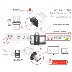 SANDISK Ultra Dual USB M3.0 Micro Flash Drive OTG 128GB