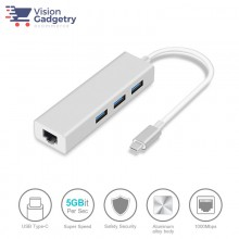 Type C to RJ45 3 Port USB 3.0 Hub Gigabit Ethernet Network Adapter Converter