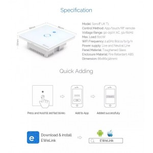 Sonoff Smart Home T1 Wall Switch Plug Wifi RF Touch Panel Alexa 2 Double Gang