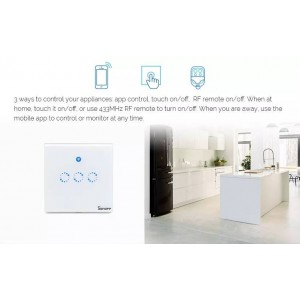 Sonoff Smart Home T1 Wall Switch Plug Wifi RF Touch Panel Alexa 3 Triple Gang
