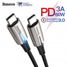 Baseus Water Drop Lamp Type C to Type C PD Cable 60W QC3.0 Black