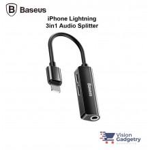 Baseus L52 3 in 1 iPhone Audio Lightning Charging Adapter Splitter 3.5mm Jack Black