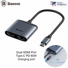 Baseus Enjoy USB Type C to Dual HDMI Converter Hub Adapter 4K PD Charging 60w