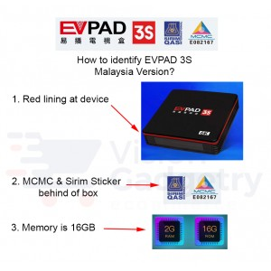 EVPAD 3S Malaysia Version Android TV Box Lifetime IPTV MSIA MCMC Certified