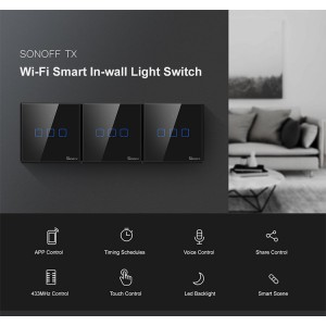 Sonoff Smart Home TX T3UK3C Wall Switch Plug Wifi RF Touch Panel Alexa 3 Triple Gang