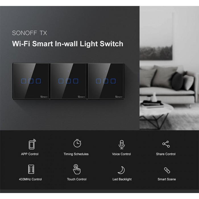 Sonoff Smart Home Tx T3uk1c Wall Switch Plug Wifi Rf Touch