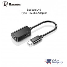 Baseus L40 2 in 1 Type C to Type C 3.5mm Audio Jack Adapter Converter Black