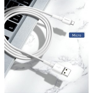 Baseus Mini White Cable Type C Lightning Micro USB Data Sync Cable Fast Charge 3A 2.4A 1M