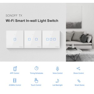 Sonoff Smart Home Wall Switch Plug T2 Wifi RF Touch Panel 3 Triple Gang TXT2UK3C