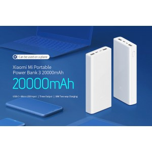 Xiaomi Powerbank 3 Power Bank 20000mah Fast Charge Output Type C PLM18ZM