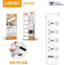 LDNIO SC4408 Power Strip 4 Universal Socket with 4 USB Output 3.4A 2500w