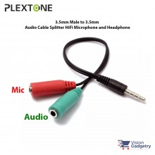 PLEXTONE 2 Female to 1 Male 3.5mm Audio Microphone Cable Y Splitter 19cm
