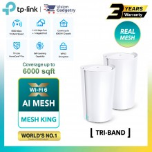 TP-Link Deco X90 AX6600 Mesh Wifi 6 Router Tri-Band Whole Home System Wireless Range Extender (2pcs)