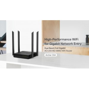 TP-Link Archer C64 AC1200 Dual Band Gigabit Wireless Wifi Router UniFi/Maxis/Time/Celcom
