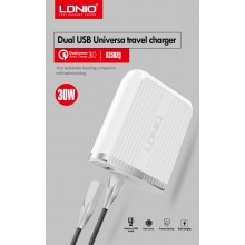 LDNIO A2502Q 30W Dual USB QC3.0 UK 3 Pin Smart Charger w Cable
