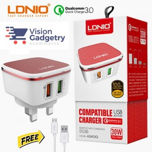 LDNIO A2405Q Qualcomm Quick Charge QC 3.0 Dual Port UK 3 Pin Charger