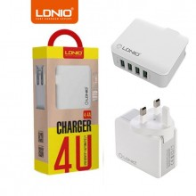 LDNIO A4403 4.4A Quadruple 4 USB Output Port Auto ID USB Charger & UK 3-Pin Plug