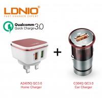 LDNIO A2405Q C304Q Quick Charge 3.0 USB Home Car Charger Bundle UK Plug