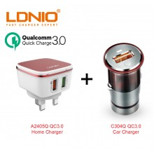 LDNIO A2405Q C304Q Quick Charge 3.0 USB Home Car Charger Bundle UK Plug