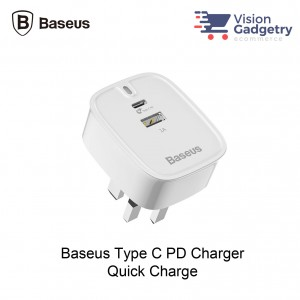 Baseus Type C PD Quick Charger UK Plug iPhone X Macbook Mobile Phone USB Charger