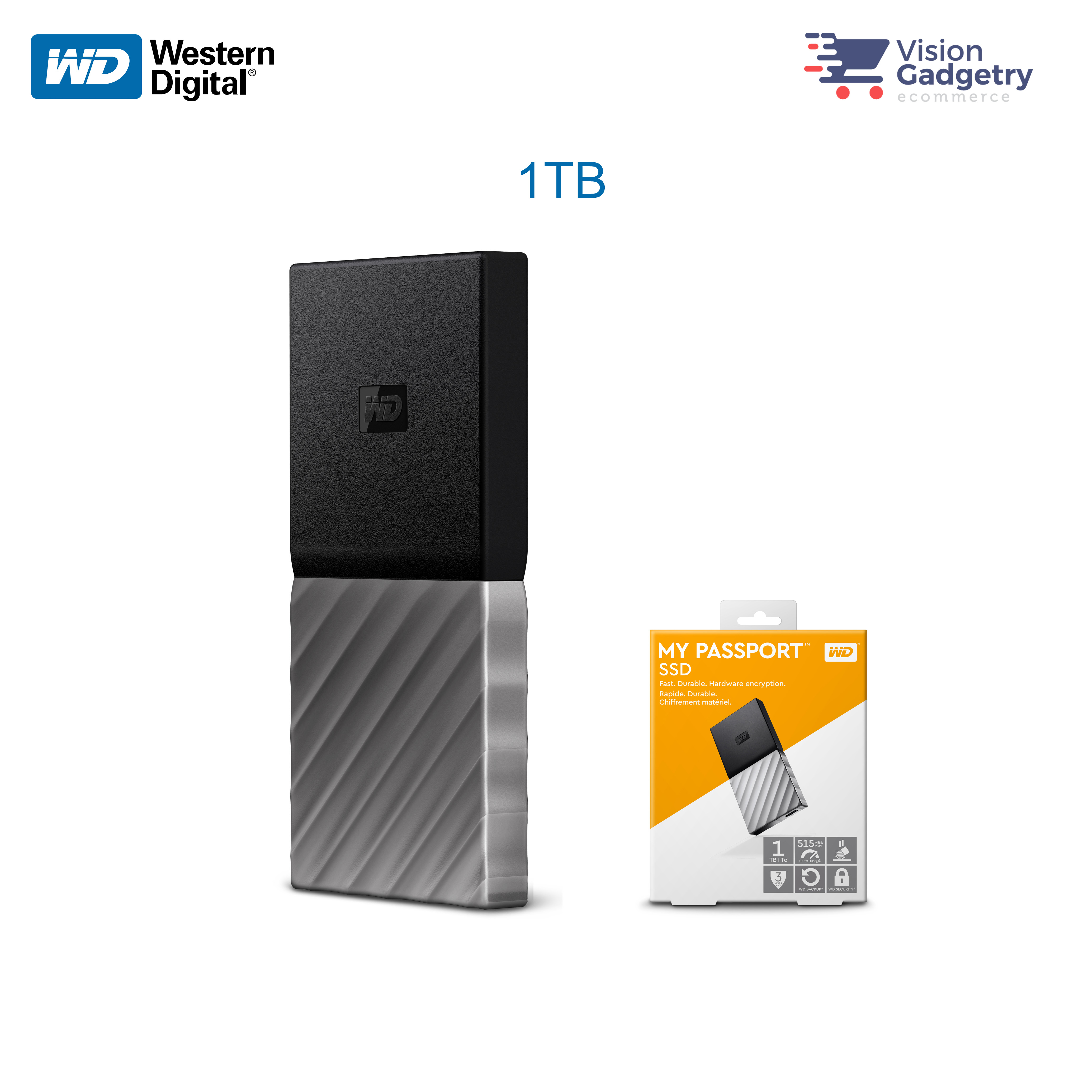 WD Western Digital MY Passport External Portable SSD 1TB 515MB/S USB 3
