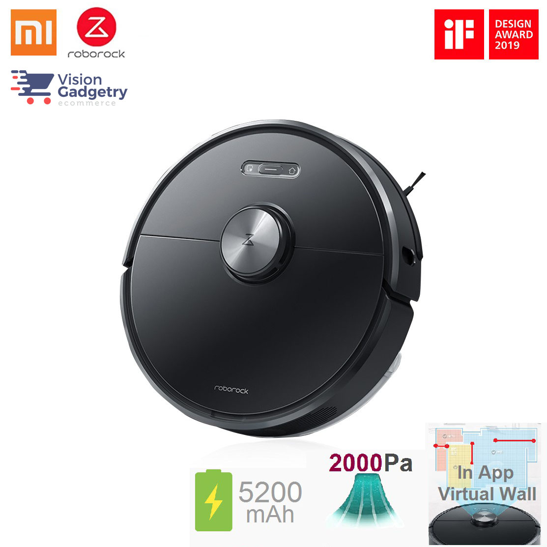 Xiaomi Roborock T6 Smart Robot Vacuum Cleaner Mop Black Ready Stock