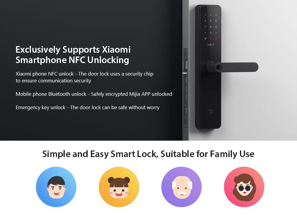 Xiaomi Mijia Mi Smart Door Lock 3D Fingerprint NFC Bluetooth MJZNMS02L