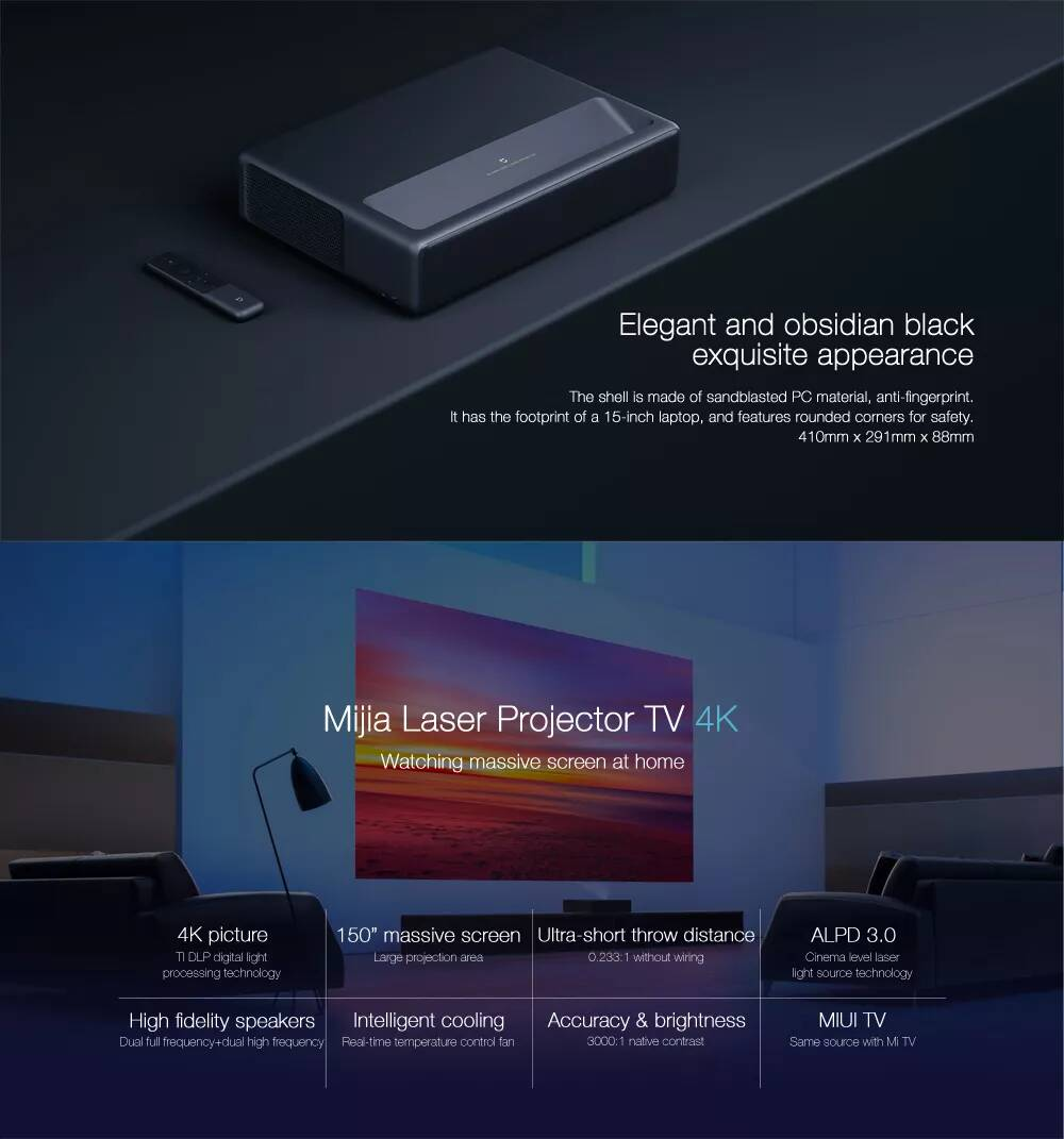 Xiaomi Mi Laser Projector Android Full HD 4K ALPD 3 0 Black PRE ORDER