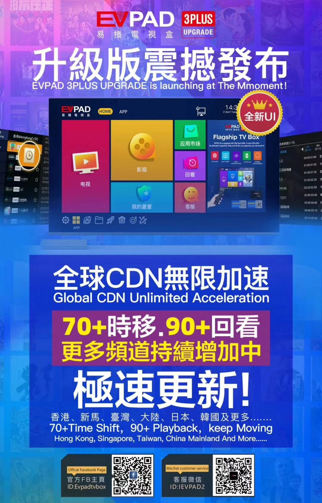 EVPAD 3 Plus Android TV Box Lifetime IPTV CDN Server 2+32
