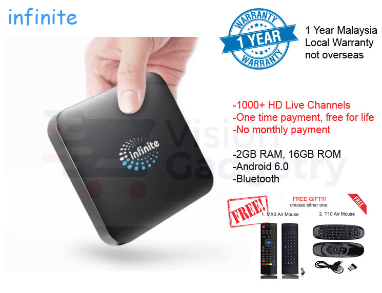 Infinite Android TV Box Lifetime Free IPTV MSIA 1 Yr Warranty
